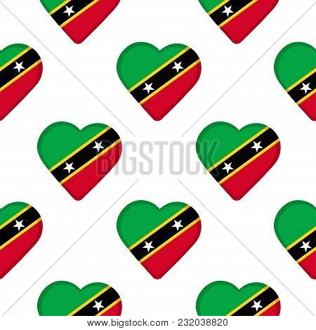 Seamless Pattern From The Hearts With Flag Of Saint Kitts And Nevis. Vector Illustration