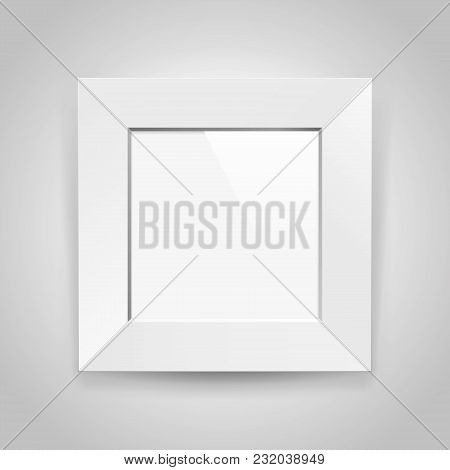 Realistic Empty Squre White Frame On Gray Background, Border For Your Creative Project, Mock-up Samp