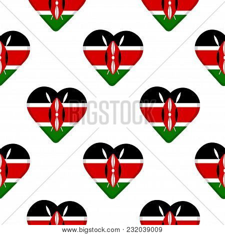 Seamless Pattern From The Hearts With Flag Of Republic Of Kenya. Vector Illustration