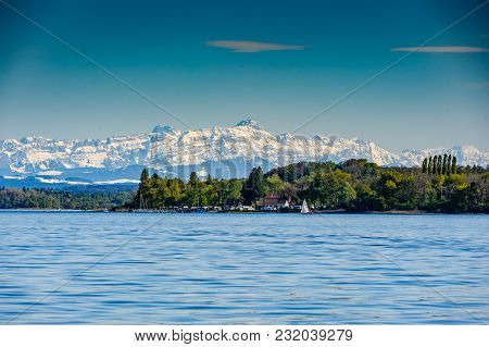 Mountain Saentis Over The Lake Constance In Early Spring