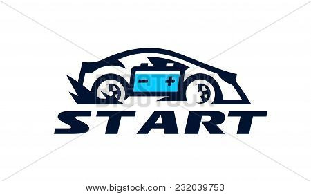 Logo For The Car Company, Transport Business. Fast Movement, Speed, Rechargeable Battery, Charging.