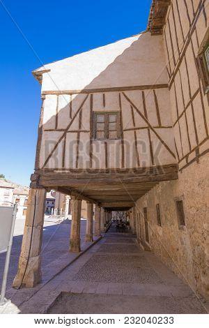 Ancient House In Arcaded Main Square Of Penaranda De Duero