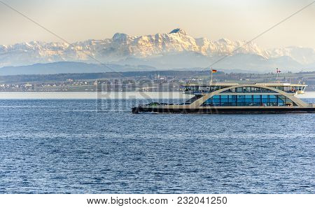 Car Ferry On Lake Constance With Mountains In The Backgreound
