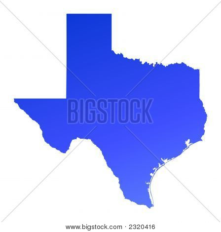 Blue Gradient Texas Map, Usa