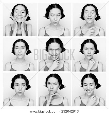 Collage of the same woman making diferent expressions