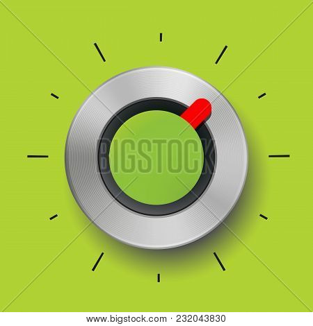 Abstract Vector Illustration Template, Metal Button, Realistic Metallic Tuner Background For User In