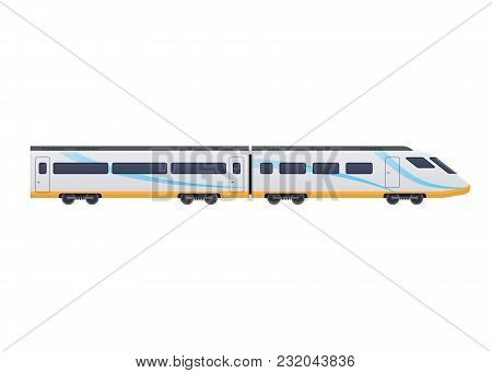 Modern Fast Train On Railway. Railway Type Of Transport, Locomotive, With A Passenger Compartment, C