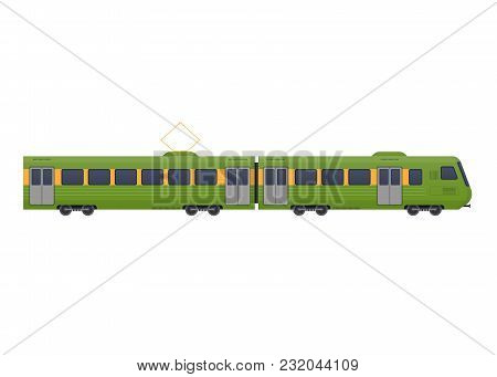Modern Train On Railway. Railway Type Of Transport, Locomotive, With A Passenger Compartment, Cargo