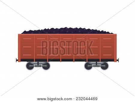 Railway Wooden Car, With A Cargo In The Form Of Coal, And Minerals. Railway Locomotive, Train, With