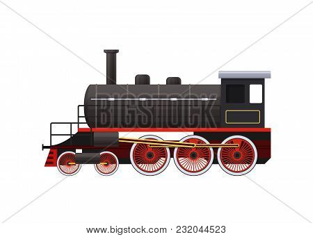 Classic Old Train On Railway. Railway Type Of Transport, Locomotive, With A Passenger Compartment, C