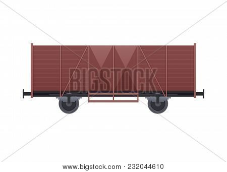 Railway Wooden Wagon, With A Variety Of Cargo In The Form Of Coal, Products, Minerals. Railway Locom