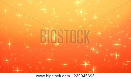 Gold Christmas Background, Star Glow On Red Background With Bokeh Effect, Colorful Lights Bokeh On G