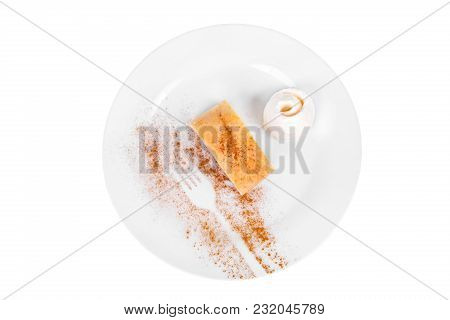 Apple Pie, Charlotte With Vanilla Ice Cream, Served On A Plate Isolated White Background, Pattern, F