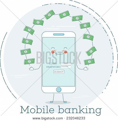 Mobile Banking Trendy Concept In Line Art Style. Banking And Finance, Ecommerce Service, Business Te