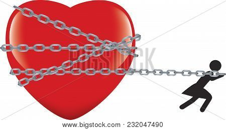 Woman Pulling Heart Chained Woman Pulling Heart Chained