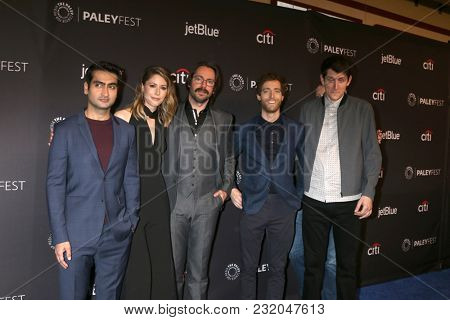 LOS ANGELES - MAR 18:  Kumail Nanjiani, Amanda Crew, Martin Starr, Thomas Middleditch, Zach Woods at the PaleyFest LA 2018 - Silicon Valley at Dolby Theater on March 18, 2018 in Los Angeles, CA