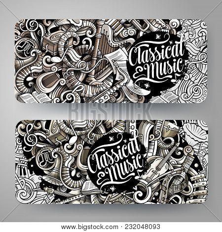 Cartoon Graphics Vector Hand Drawn Doodles Classic Music Corporate Identity. 2 Horizontal Banners De