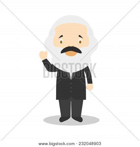 Karl Marx Cartoon Character. Vector Illustration. Kids History Collection.