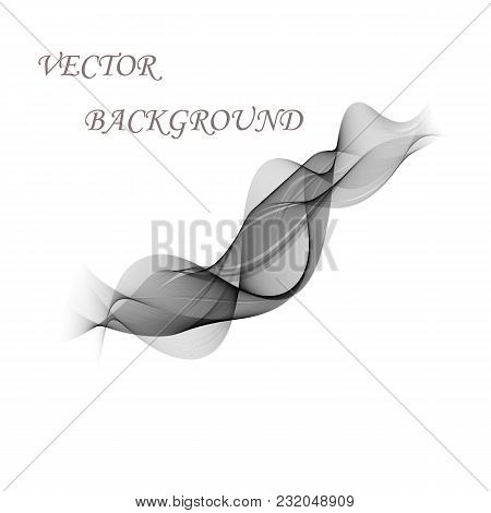 Abstract Smooth Gray Wave Vector. Curve Flow Grey Motion Illustration. Gray Smoke. Business Wave Bac