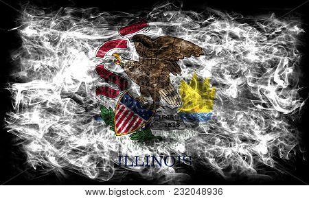 Ilinois State Smoke Flag, United States Of America