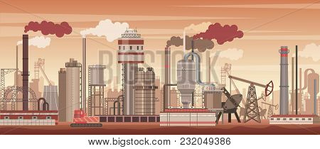 Vector Chemical Industrial Landscape Background. Industry, Chemistry Factory. Environment Pollution