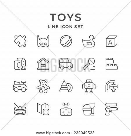 Set Line Icons Of Toys Isolated On White. Vector Illustration