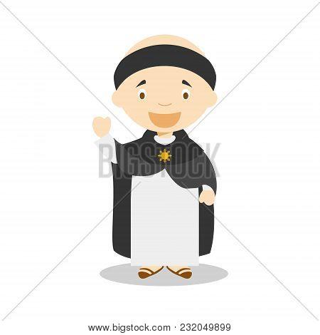 Saint Thomas Of Aquino Cartoon Character. Vector Illustration. Kids History Collection.