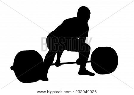 Powerlifter Exercise Deadlift  Heavy Weight Black Silhouette