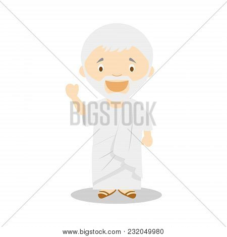 Seneca Cartoon Character. Vector Illustration. Kids History Collection.