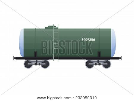 Railway Wagon, Cistern, With A Variety Of Cargo In The Form Of Water, Products, Liquids, Oil. Railwa