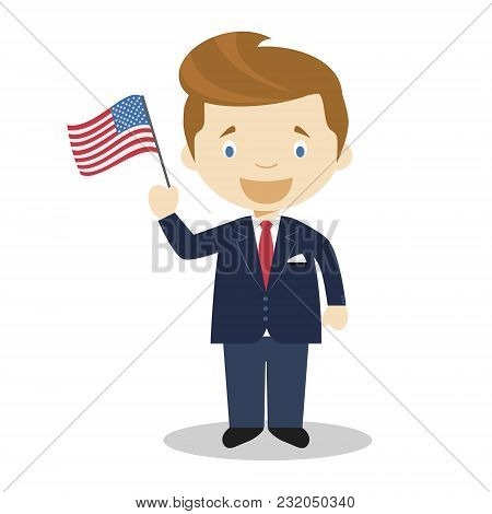 John F Kennedy Cartoon Character. Vector Illustration. Kids History Collection.