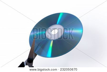 Conceptual Destruction Of The Data On A Cd With Scissors
