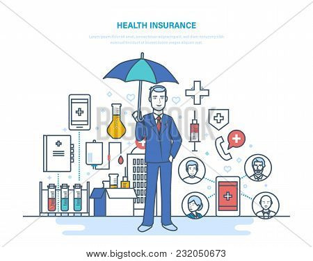 Health Insurance. Life Insurance, Healthcare, Protection Health And Safety Of Patients. Mobile Appli