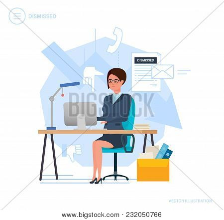 Dismissal From Work. Woman Working Cartoon, With Box With Documents, Dismissal Letter From Work. Une