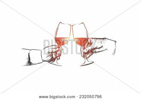 Party Time Concept. Hand Drawn Male Hands With Glass Of Wine. Hands Of Persons Clink Glasses With Al