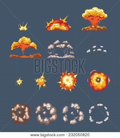 Set Of Objects, Animation Scenes, For Game, Effect Smoke, Explosion, Fire Clouds, Frame-by-frame Ani