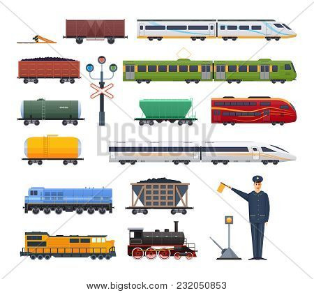 Railway Locomotive With Various Wagons Passenger, And Cargo. Cars With Passengers, Cargo, Cisterns.
