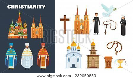 Catholic And Orthodox Christianity. Beautiful Cathedral And Church Building, Chapel. Cross, Priest A