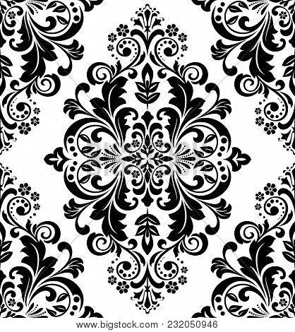 Damask Seamless Floral Pattern. Royal Wallpaper. Black Flowers On A Transparent Background