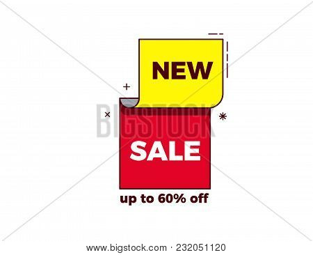 New Sale Words On Modern Trendy Geometric Design With Bright Red And Yellow Colors And Thin Outline.