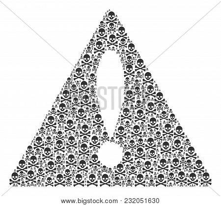 Important Symbol Concept Created Of Death Skull Design Elements. Vector Death Skull Items Are Combin