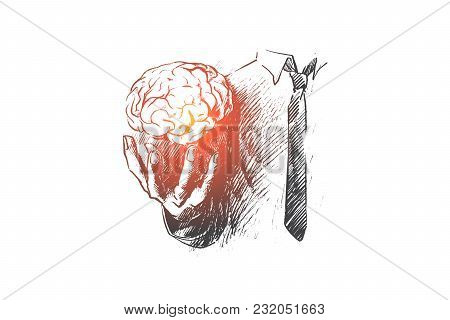 Brain Concept. Hand Drawn Hand Holding Human Brain. Symbol Of Creativity And Inspiration Isolated Ve