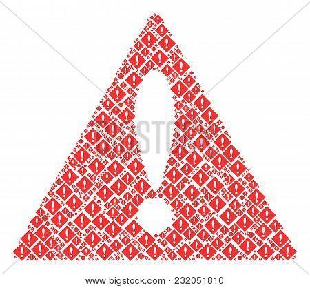 Danger Triangle Sign Pattern Designed Of Error Design Elements. Vector Error Elements Are Combined I
