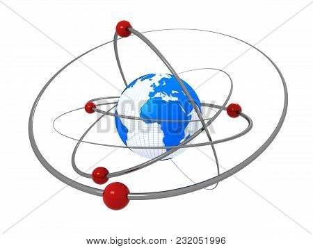 3d Render Of Atom Structure Radiating Energy. Earth As An Atom