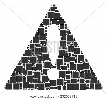 Advice Triangle Sign Composition Made Of Filled Square Pictograms. Vector Filled Square Items Are Or