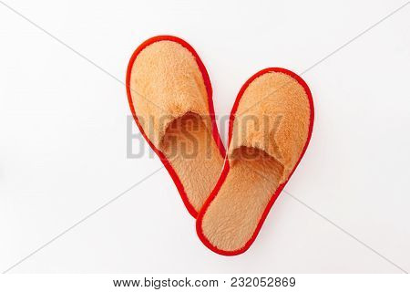 Multicolored Soft Fluffy House Slippers Isolated On White Background