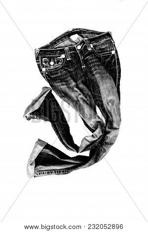 Beautiful Casual Jeans Pants And Clothes Isolated On White Background.