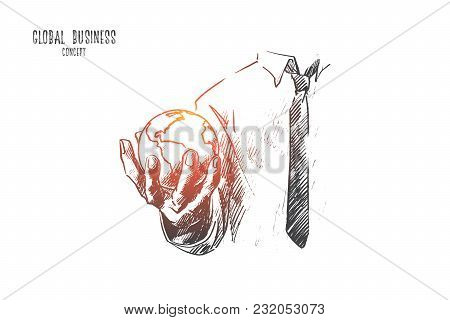 Global Business Concept. Hand Drawn Earth Globe In Hand Of Businessman. Symbol Business Cooperation