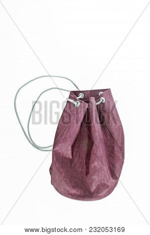 Backpack Pulling On Rope Isolated On White Background