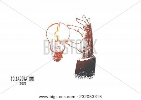 Collaboration Concept. Hand Drawn Light Bulb In Human Hand. Part Of Puzzle As Symbol Of Co-working A
